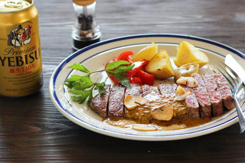 お取り寄せ牛肉で大人のためのおつまみレシピ。 黒毛和牛サーロインステーキ ペッパー味噌ソース仕立て